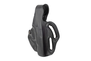 DeSantis Thumb Break Scabbard Holster for Glock 19/19X/23 features black leather construction