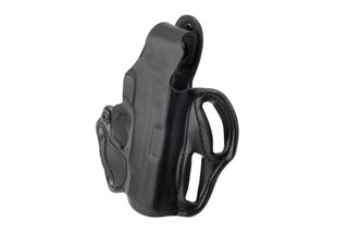 DeSantis Thumb Break Scabbard Holster for S&W Shield features black leather construction