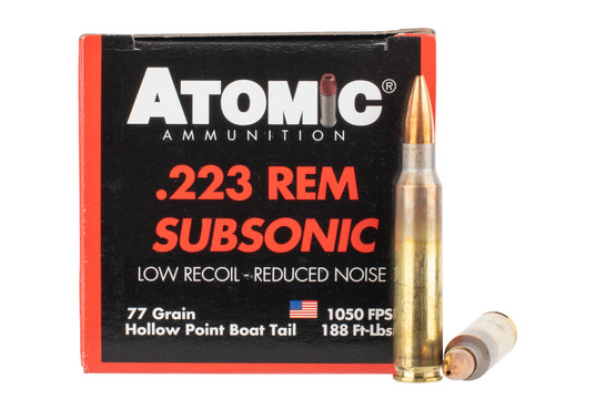 Atomic Ammunition subsonic 223 rem features a hollow point boat tail bullet