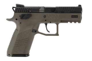 CZ P07 9mm compact pistol features an OD green frame