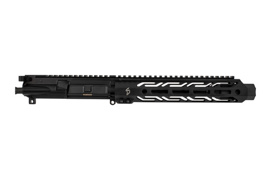 The Stern Defense complete 9mm upper receiver group features an M-LOK handguard with cutouts to reduce weight