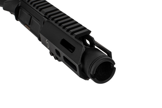 The Stern Defense 9mm upper receiver group features a forward blast diffuser muzzle device