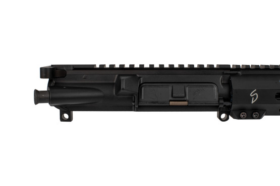 The Stern Defense 9mm AR15 complete upper receiver group is fully assembled with forward assist and dust cover