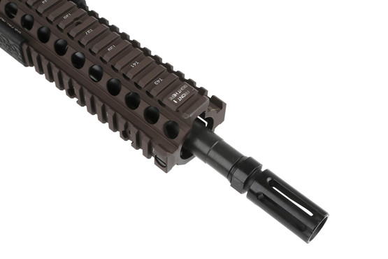 The DDM4 AR15 rifle chambered in 5.56 features a heavy buffer for smooth recoil