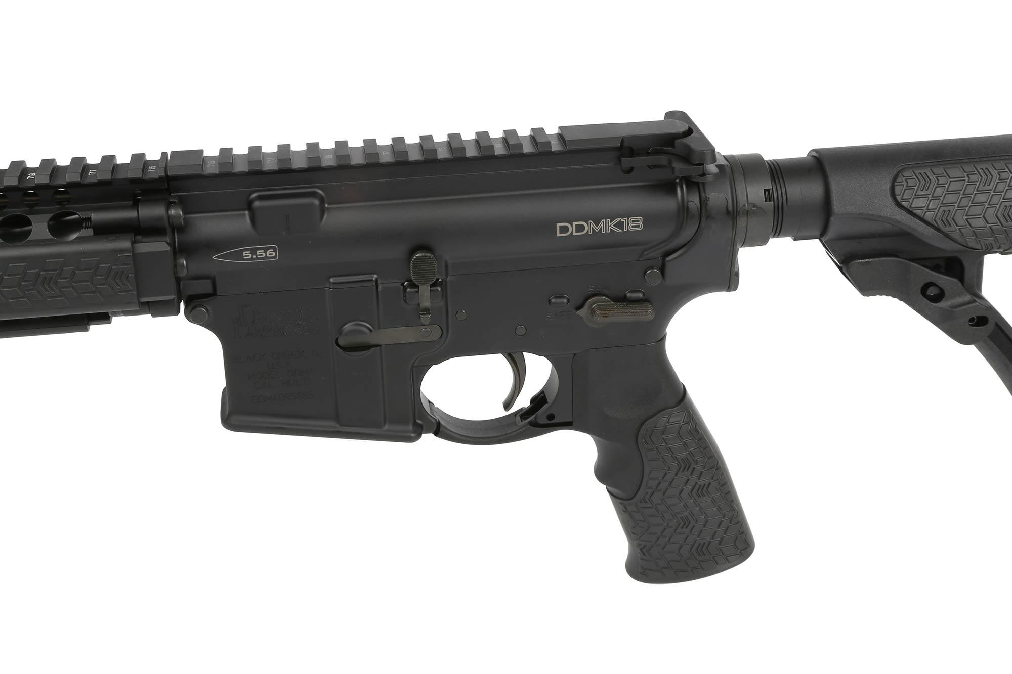 The DD MK18 AR 15 5.56 comes with an ambidextrous safety selector