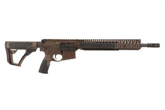 The Daniel Defense 14.5in 5.56 ar15 Rifle with 12.25in M4A1 RIS II handguard and Pinned Flash hider has a collapsible stock