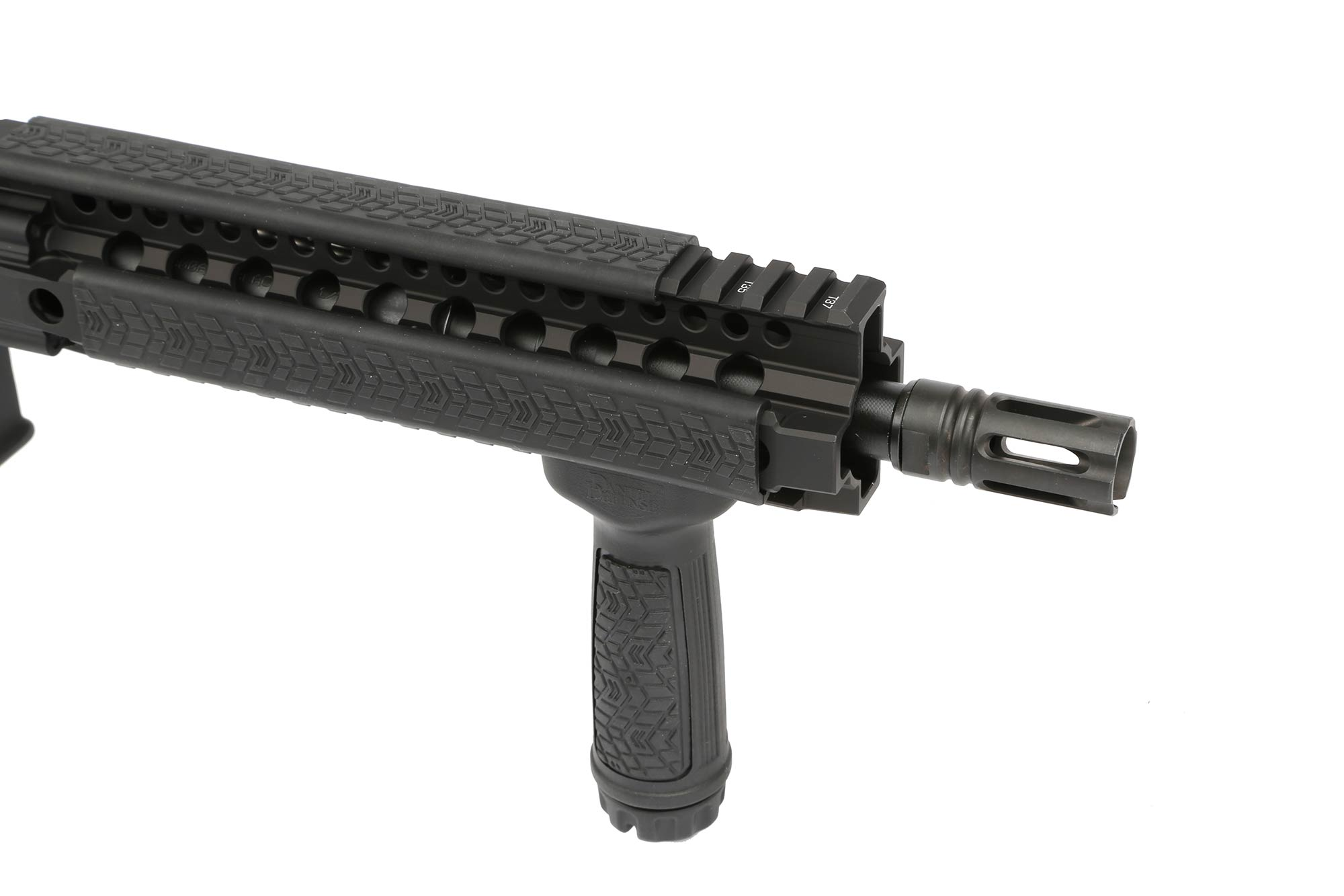 The Daniel Defense MK18 300 BLK AR15 comes with rail covers and a verticle foregrip