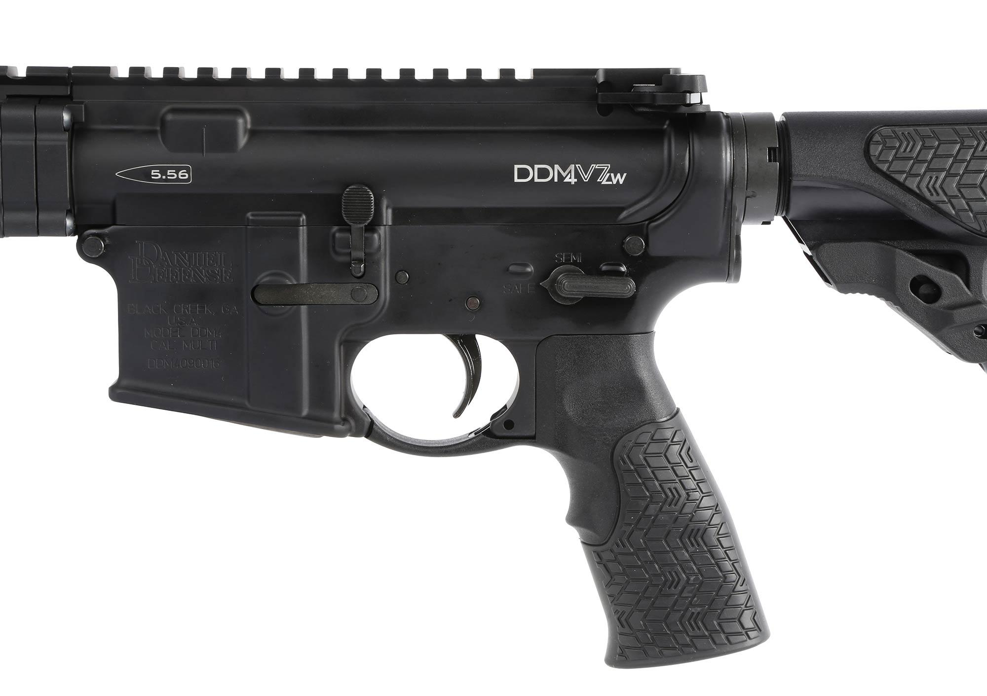The Daniel Defense DDM4v7 carbine features a rubber overmolded pistol grip