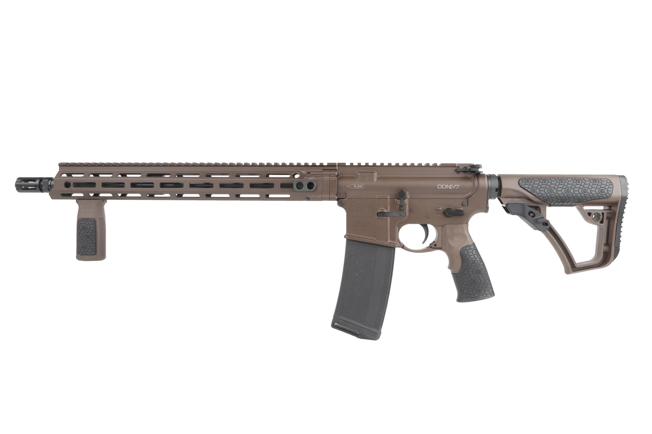 The Daniel Defense DDM4 for sale comes with a vertical fore grip and 30 round magazine