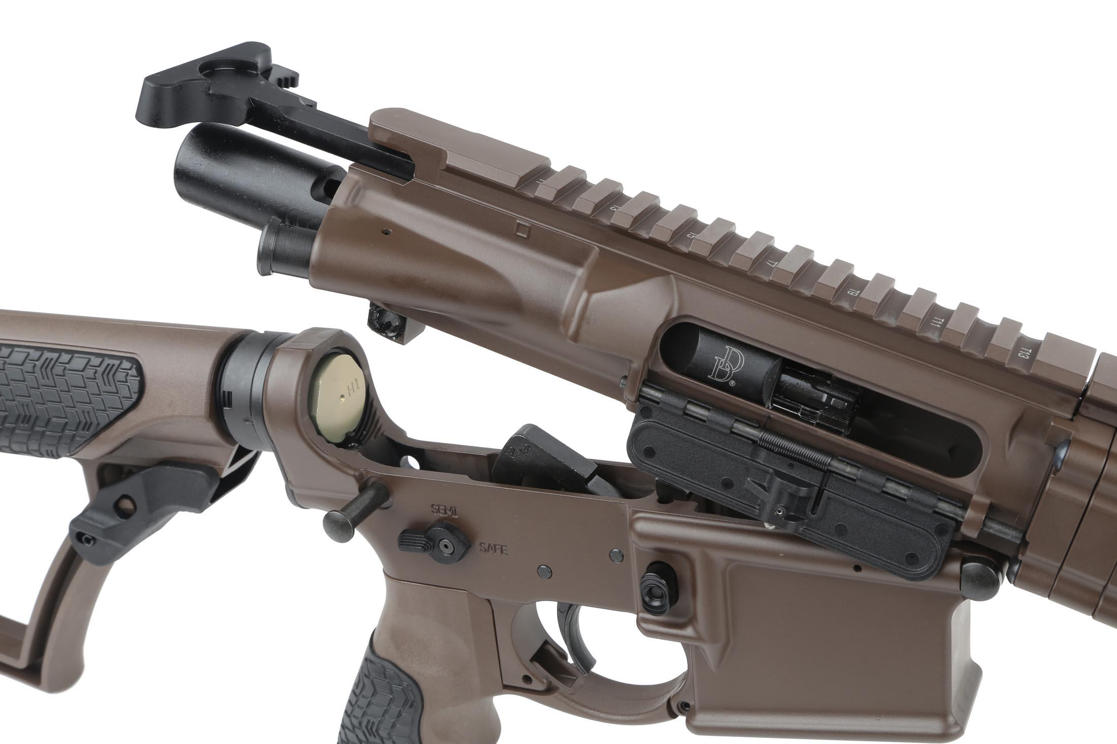 The DDM4v7 AR15 carbine comes with a mil-spec charging handle and M16 bolt carrier group