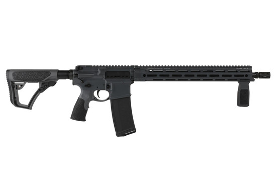 The Daniel Defense DDM4v7 rifle with 16 inch 5.56 barrel features the Tornado Grey Cerakote finish