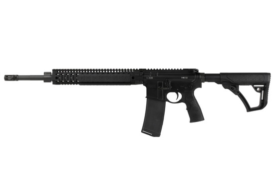 The MK12 DD 5.56 AR 15 with 18 inch barrel and quad rail features rubber overmolded covers
