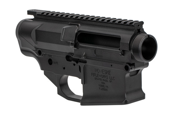 The Noveske N6 AR10 receiver set features a hardcoat anodized finish