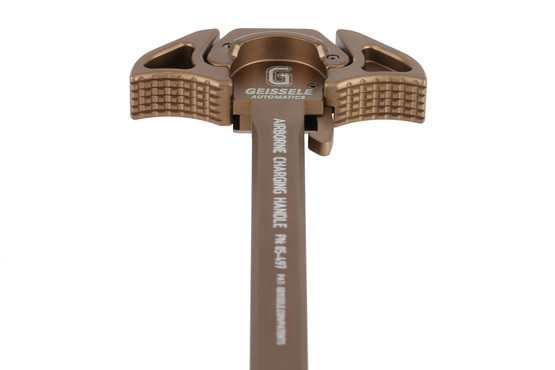 The Geissele airborne ambidextrous charging handle features low profile textured latches