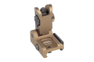 Geissele Automatics Rear Folding Sight features a desert dirt anodized finish