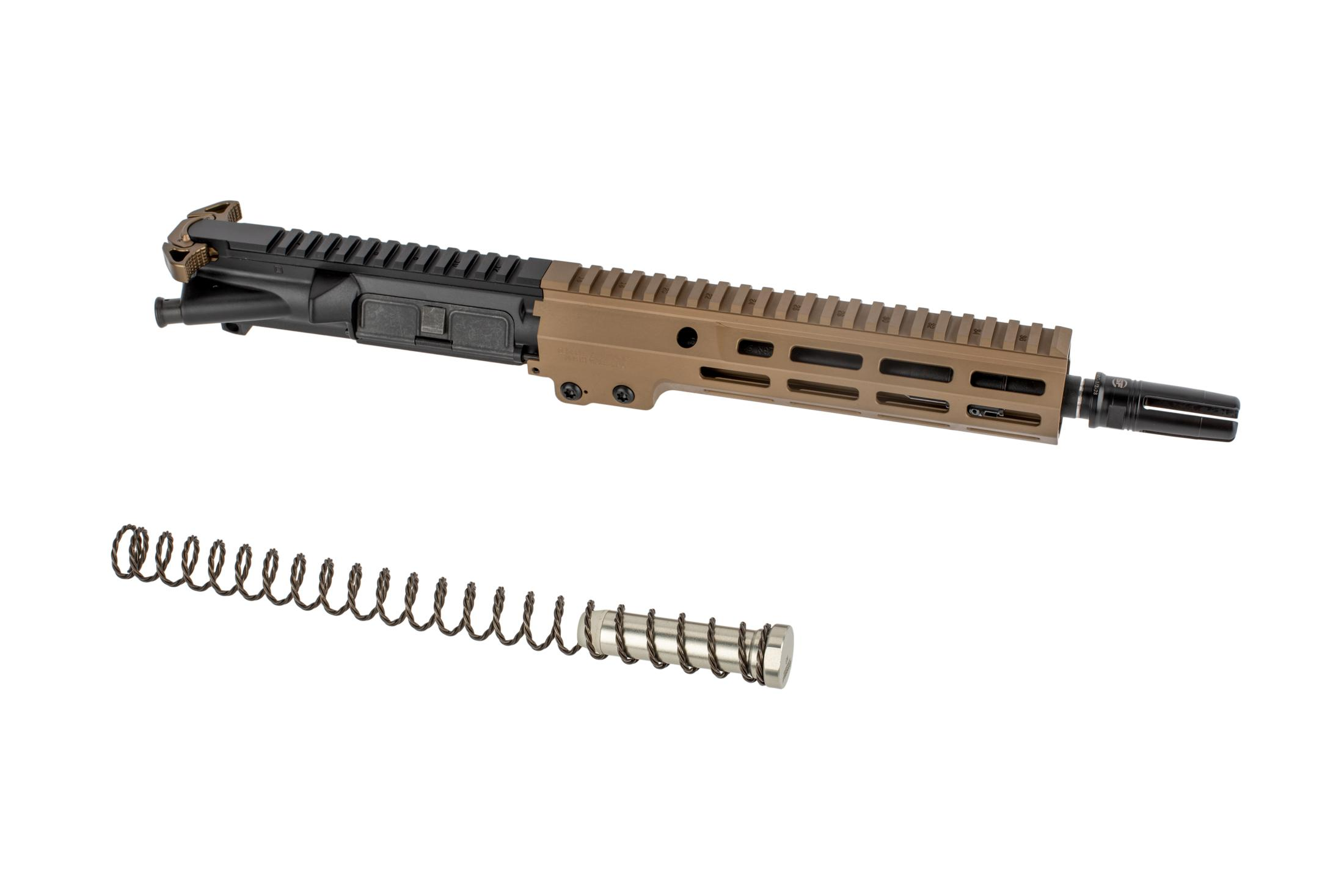 The Geissele USASOC improved AR15 complete upper group comes with a super 42 braided buffer spring and weightThe Geissele USASOC improved AR15 complete upper group comes with a super 42 braided buffe
