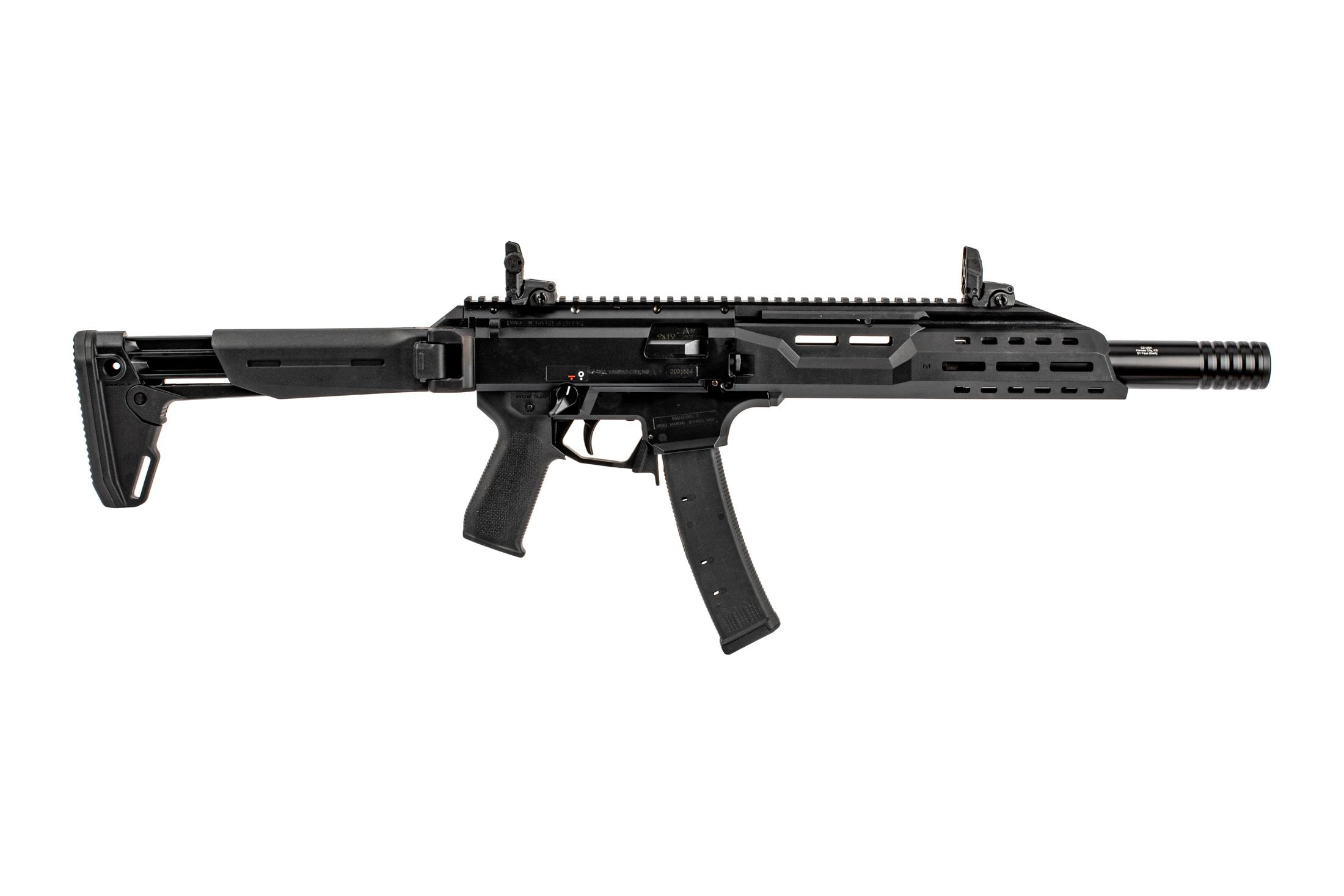 CZ USA 16 Magpul Edition Scorpion carbine in 9mm luger with Magpul grip, ZHUKOV-S stock, and MBUS sights