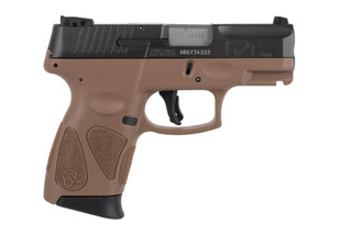 Taurus USA G2C 9mm sub compact pistol features an OD green slide and brown frame