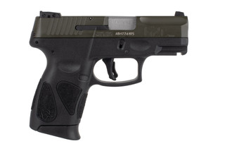 Taurus G2C 9mm sub compact pistol features an OD green slide