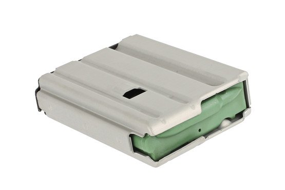 The Ammunition Storgage Components 10 round AR-15 magazine features a green anti-tilt follower