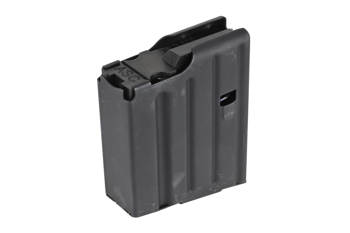 The Ammunition Storage Components .308 magazine holds 10 rounds of ammo and is compatible with SR-25 pattern rifles