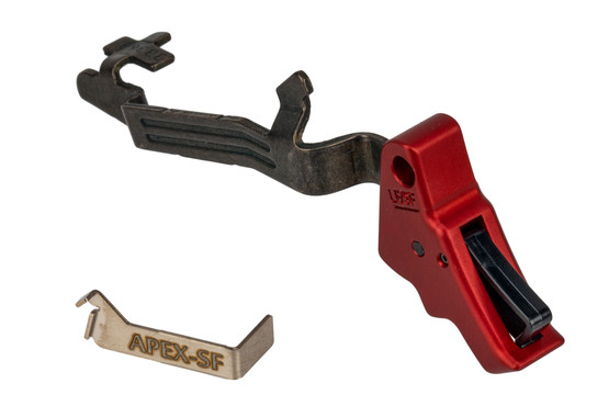 Apex Tactical Glock 43 Trigger kit features a red anodized finish