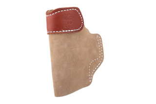 DeSantis leather tuckable holster features a suede finish