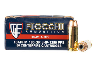 Fiocchi 10mm hollow point ammo comes in a box of 50