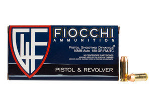 Fiocchi 180gr 10mm Auto ammo with full metal truncated cone bullets, 50-rounds per box.