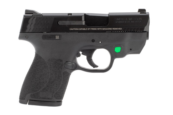 Smith and Wesson M&P Shield 2.0 9mm pistol with green integrated laser