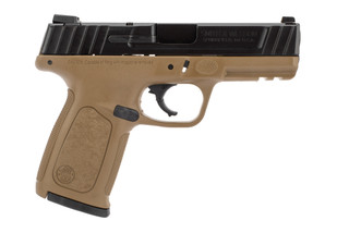 Smith and Wesson SD40VE pistol features a flat dark earth frame