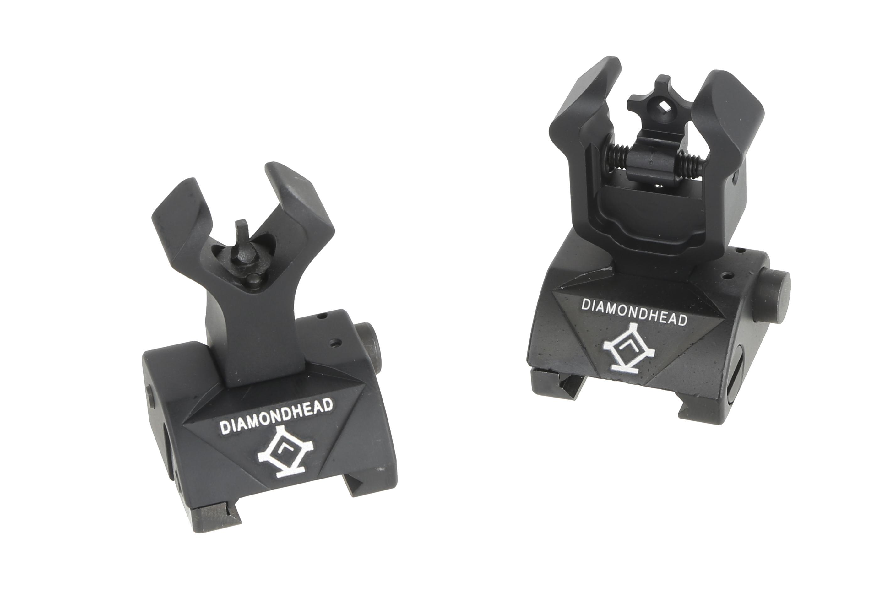 The Diamondhead USA Diamond Integrated Sighting System back up iron sights for AR15 rifles feature a flip up design