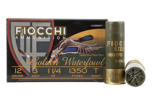 Fiocchi 12 gauge golden waterfowl is loaded with steel T shot