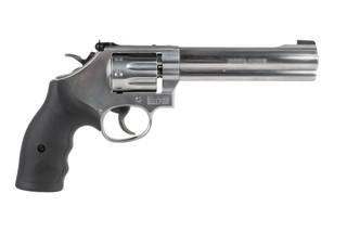Smith and Wesson Model 648 22 WMR revolver features an 8 shot cylinder