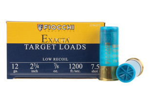 Fiocchi Exacta 12 gauge low recoil ammo is loaded with #7.5 shot