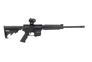 Smith and Wesson M&P 15 ar15 rifle features a crimson trace red dot sight