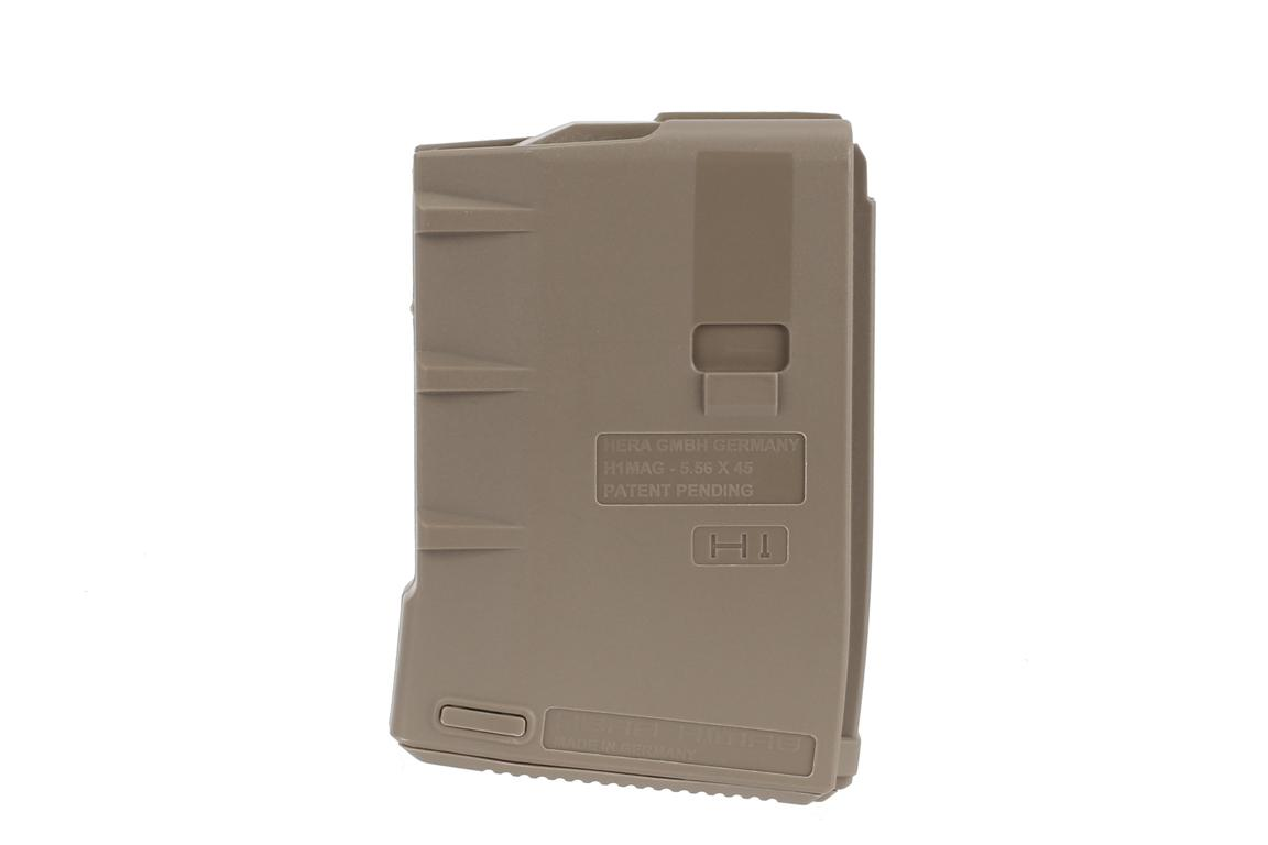 The Hera Arms H1 10 round AR15 magazine in tan features a textured surface