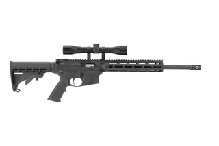 Smith and Wesson M&P15-22 lr rimfire AR15 rifle features a 16.5 inch barrel