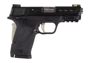 Smith and Wesson M&P9 shield EZ performance center features silver accents