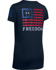 Under Armour Freedom Banner Women's Short Sleeve T-Shirt with Freedom Banner graphic on the back