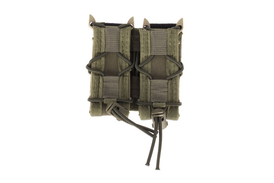 The High Speed Gear Double Pistol mag pouch TACO with belt mount is made from durable OD Green Cordura