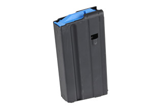 The Ammunition Storage Components 6.5 Grendel AR15 Steel Magazine with 15 Round capacity features a blue follower