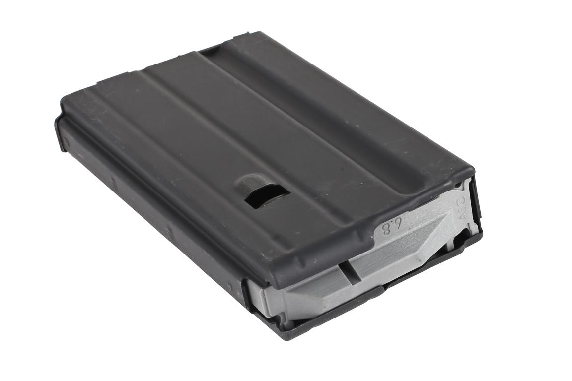 The ASC 6.8 SPC 15 round magazine features a grey anti-tilt follower with stainless steel springs