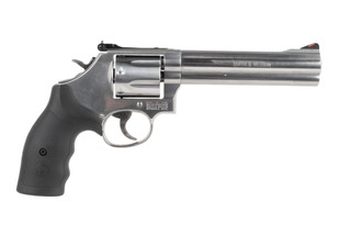 Smith and Wesson Model 686 revolver features a 6 inch barrel