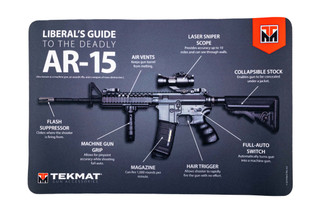 TekMat 17in handgun cleaning mat featuring a Liberal's Guide to the AR-15 dye sublimated graphic.