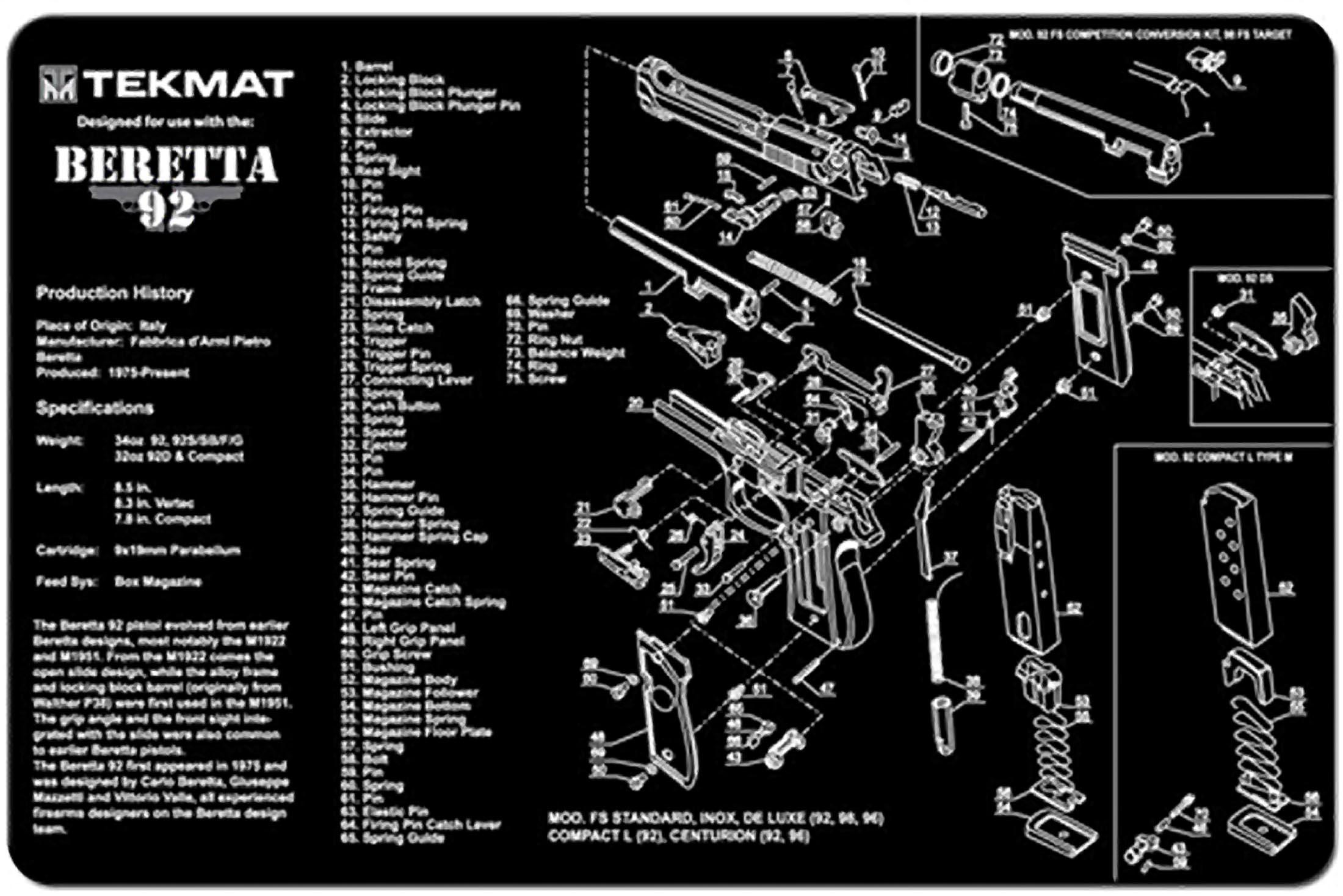 Tekmat Beretta 92 Gun Cleaning Mat 17 Ber92