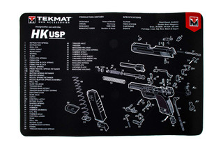 TekMat 17in handgun cleaning mat featuring an exploded view of the Heckler & Koch USP series of handguns dye sublimated graphic.