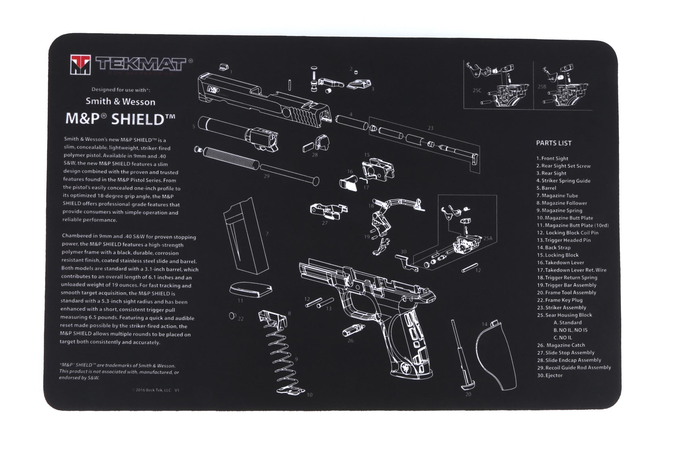 Tekmat Smith  U0026 Wesson M U0026p Shield Handgun Cleaning Mat 17
