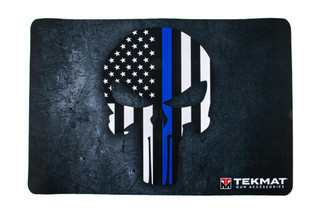 TekMat 17in handgun cleaning mat featuring a blue line police support Punisher skull logo dye sublimated graphic.