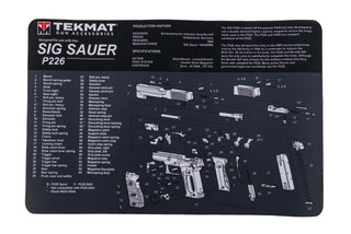 TekMat 17in handgun cleaning mat featuring an exploded view of the SIG Sauer P226 series of handguns dye sublimated graphic.